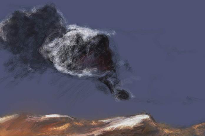 cloud and mountain on blue ground