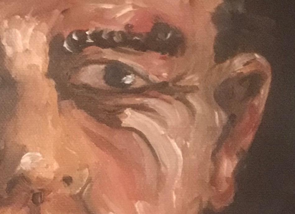 © rl busséll Portrait Oil on canvas. (Detail)