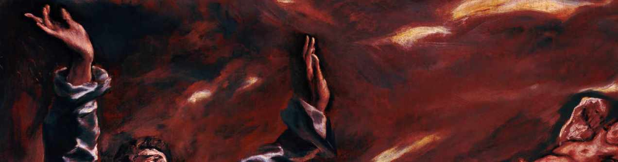 (detail- darkened) The Vision of Saint John - by El Greco (Doménikos Theotokópoulos) 87.5 × 76 inch Oil on canvas