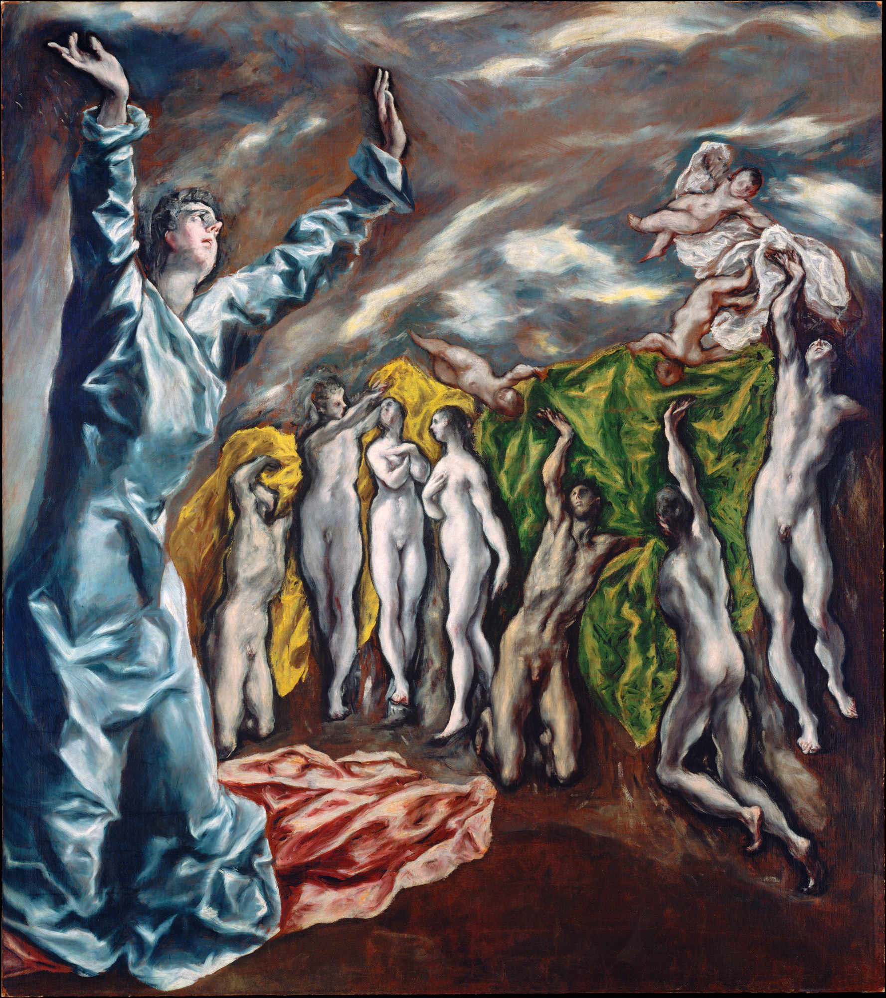 The Vision of Saint John - by El Greco (Doménikos Theotokópoulos) 87.5 × 76 inch Oil on canvas