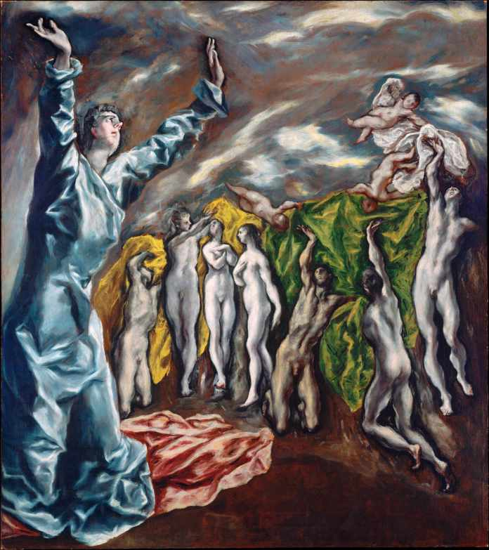 The Vision of Saint John - by El Greco (Doménikos Theotokópoulos) 87.5 × 76 inch Oil on canvas
