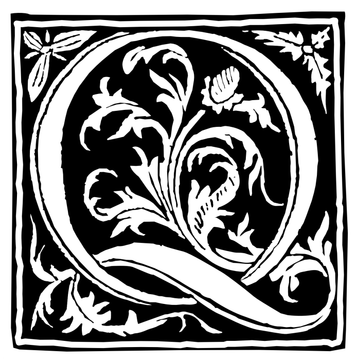 Letter Q from fifteenth century French woodcut from and edition of Vergil printed by Lambillion
