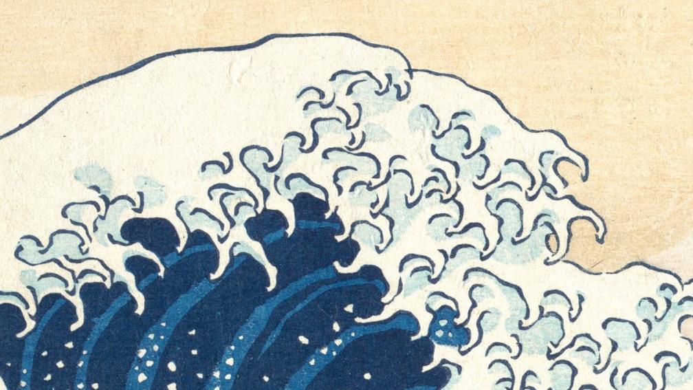 Great Wave Off Kanagawa by Katsushika Hokusai's (1760-1849) 1831 woodcut