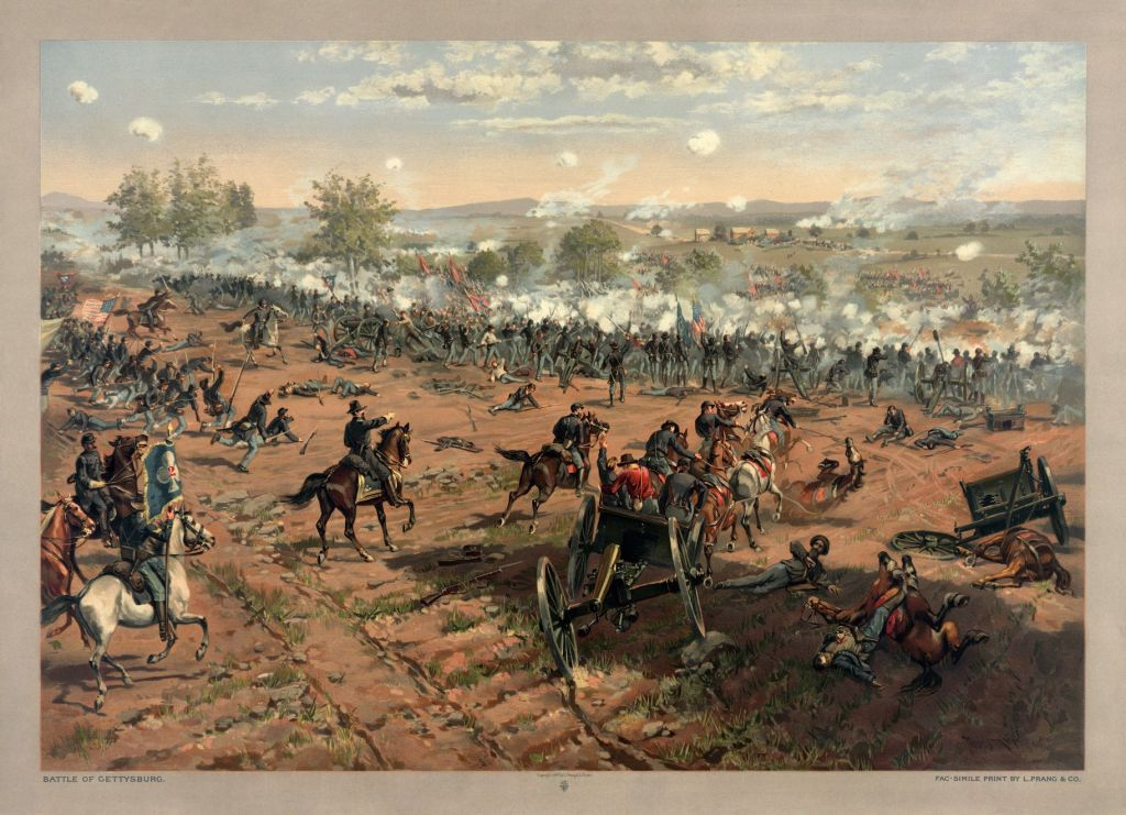 """L. Prang & Co. lithograph of the painting """"Hancock at Gettysburg"""" by Thure de Thulstrup, showing Pickett's Charge. Restoration by Adam Cuerden."""